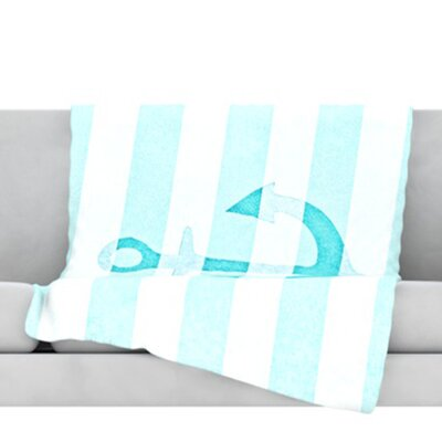 Stone Vintage Anchor Fleece Throw Blanket Size: 80 L x 60 W, Color: Aqua
