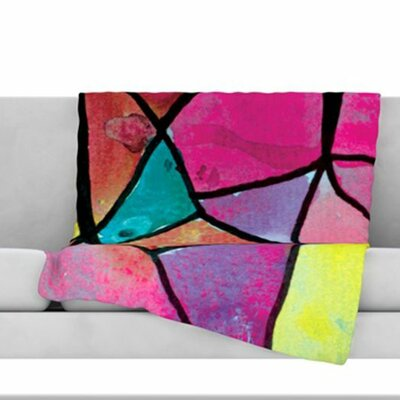 Stain Glass 3 Fleece Throw Blanket Size: 60 L x 50 W