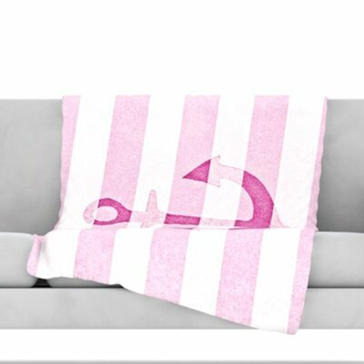 Stone Vintage Anchor Fleece Throw Blanket Color: Pink, Size: 60 L x 50 W