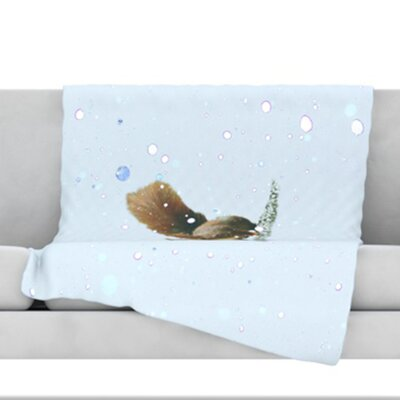 Squirrel Fleece Throw Blanket Size: 40 L x 30 W