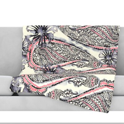 Inky Paisley Bloom Throw Blanket Size: 60 L x 50 W
