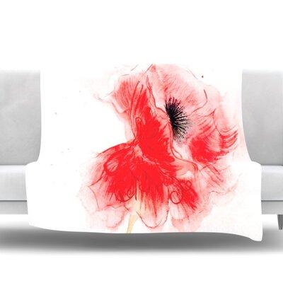 Poppy by Louise Fleece Throw Blanket Size: 90 H x 90 W x 1 D