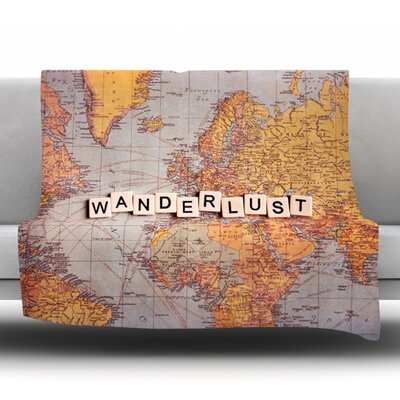 Wanderlust Map by Sylvia Cook Fleece Throw Blanket Size: 60 H x 50 W x 1 D