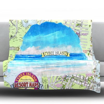 Tybee Island by Rosie Fleece Throw Blanket Size: 90 H x 90 W x 1 D