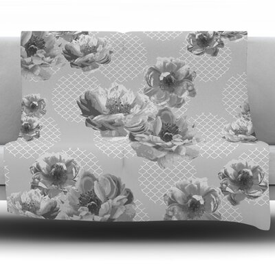 Lace Peony by Pellerina Design Fleece Throw Blanket Size: 40 L x 30 W, Color: Gray