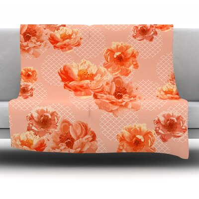 Lace Peony by Pellerina Design Fleece Throw Blanket Size: 40 L x 30 W, Color: Blush