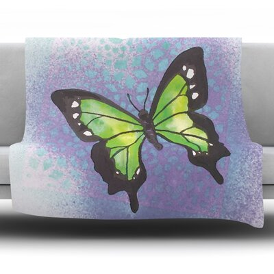 Flutter Fleece Throw Blanket Size: 60 L x 50 W, Color: Lime Green
