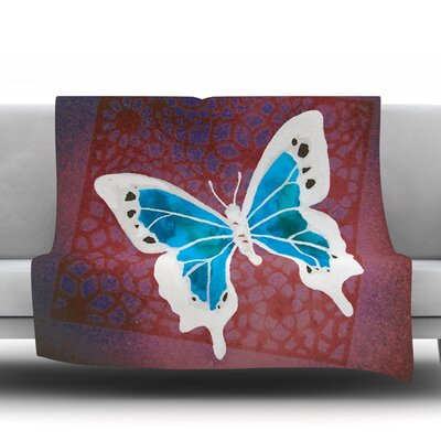 Flutter Fleece Throw Blanket Color: Teal, Size: 80 L x 60 W