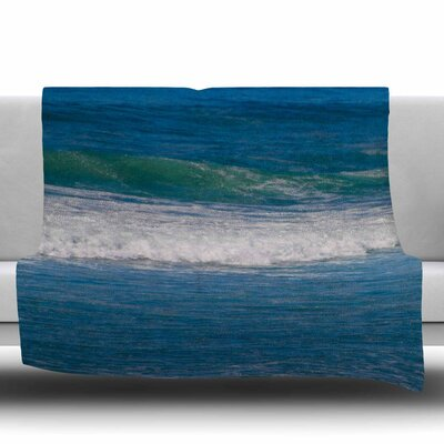 Solana Beach Rolling Waves Fleece Throw Blanket Size: 60