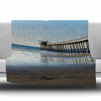 Scripps Beach Pier Fleece Throw Blanket Size: 40 L x 30 W