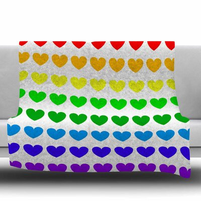 Hearts Fleece Throw Blanket Size: 80 L x 60 W, Color: Rainbow