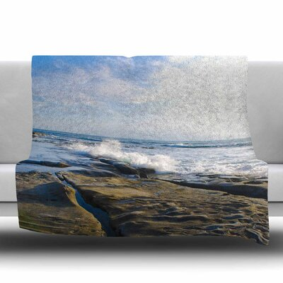 Wave Against Rocks Fleece Throw Blanket Size: 60 L x 50 W