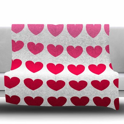 Hearts Fleece Throw Blanket Size: 40 L x 30 W, Color: Pink