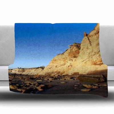 Beach Cliffside Rocks Fleece Throw Blanket Size: 60 L x 50 W