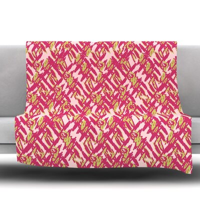Abstract Print Fleece Throw Blanket Size: 80 L x 60 W, Color: Pink