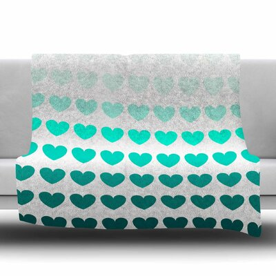 Hearts Fleece Throw Blanket Size: 60 L x 50 W, Color: Teal