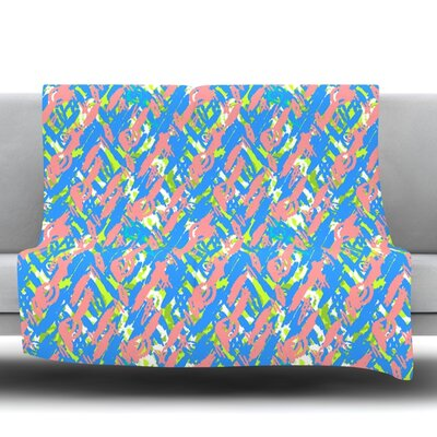 Abstract Print Fleece Throw Blanket Color: Blue, Size: 80 L x 60 W