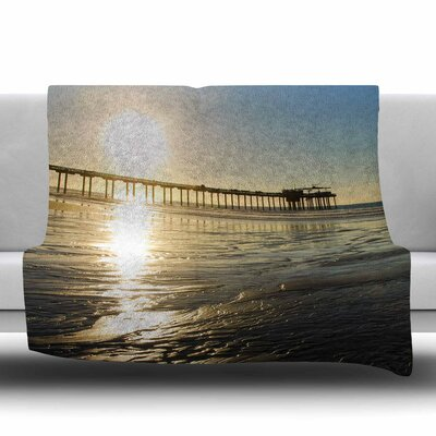 Sun Over Scripps Pier Fleece Throw Blanket Size: 60 L x 50 W