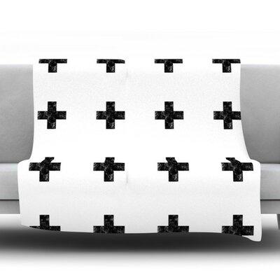 Swiss Cross by Skye Zambrana Fleece Throw Blanket Size: 90 H x 90 W x 1 D, Color: White
