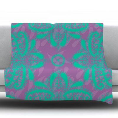 Motifs in by Nandita Singh Fleece Throw Blanket Color: Purple/Green, Size: 90 H x 90 W x 1 D