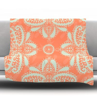 Motifs in by Nandita Singh Fleece Throw Blanket Size: 80 H x 60 W x 1 D, Color: Peach