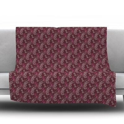 Throw Blanket Size: 40 L x 30 W, Color: Ferns Vines Bordeaux