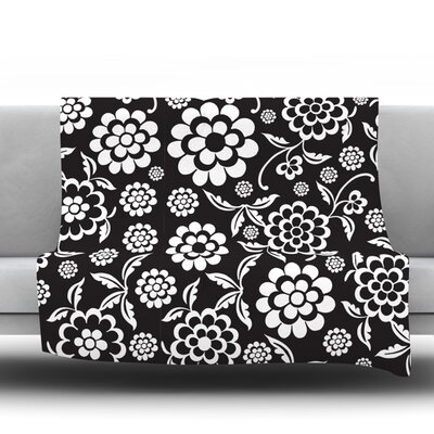 Cherry Floral Throw Blanket Color: Black, Size: 60 L x 50 W