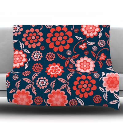 Cherry Floral Throw Blanket Size: 60 L x 50 W, Color: Midnight