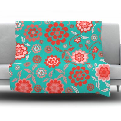 Cherry Floral Throw Blanket Size: 60 L x 50 W, Color: Sea