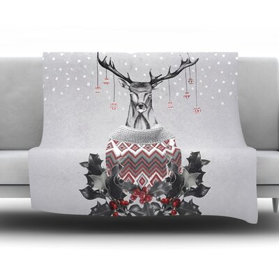 Christmas Deer Snow Fleece Throw Blanket Size: 40 L x 30 W