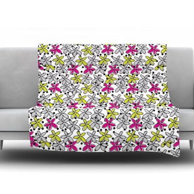 Floral Spread by Nandita Singh Fleece Throw Blanket Size: 90 H x 90 W x 1 D