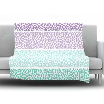 Riverside Pebbles by Pom Graphic Design Fleece Throw Blanket Size: 90 H x 90 W x 1 D, Color: Purple/Teal