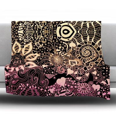 Throw Blanket Size: 80 L x 60 W, Color: Black / Gold