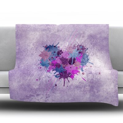 Painted Heart Throw Blanket Size: 90 L x 90 W