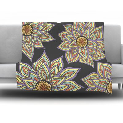 Throw Blanket Color: Floral Dance In The Dark, Size: 80 L x 60 W