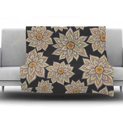 Throw Blanket Size: 80 L x 60 W, Color: Floral Dance In The Dark