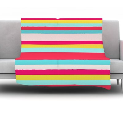 Throw Blanket Size: 60 L x 50 W, Color: Girly Surf Stripes