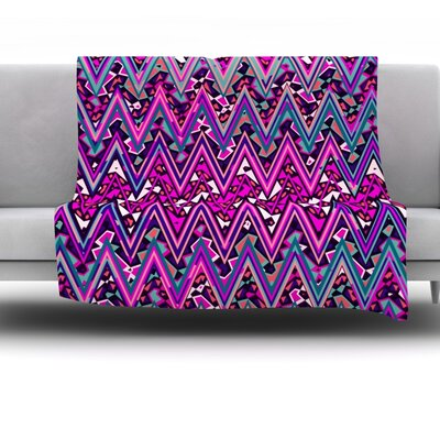 Electric Chevron Fleece Throw Blanket Color: Pink, Size: 60 L x 50 W