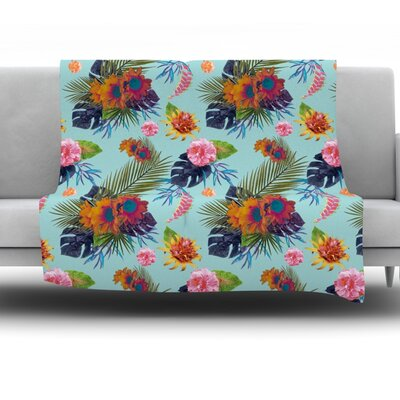 Tropical Floral Fleece Throw Blanket Size: 80 L x 60 W
