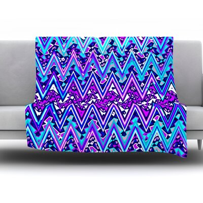 Electric Chevron Fleece Throw Blanket Color: Blue, Size: 60 L x 50 W