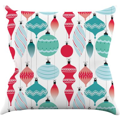 Mixed Ornaments Throw Pillow Size: 26 H x 26 W x 5 D, Color: Red