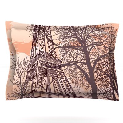 Eiffel Tower by Sam Posnick Featherweight Pillow Sham Size: Queen, Fabric: Cotton