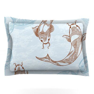 Koi by Sam Posnick Featherweight Pillow Sham Size: King, Fabric: Cotton