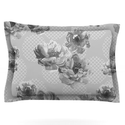 Lace Peony by Pellerina Design Featherweight Pillow Sham Size: Queen, Color: Gray, Fabric: Cotton