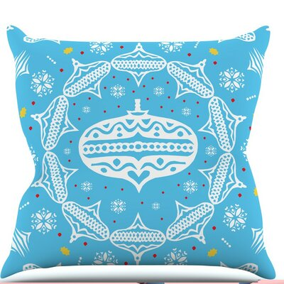 Deco Wreath by Miranda Mol Throw Pillow Size: 20 H x 20 W x 4 D, Color: Blue