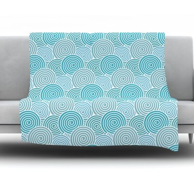 Ocean Swirl by Nick Atkinson Fleece Throw Blanket Size: 60 H x 50 W x 1 D