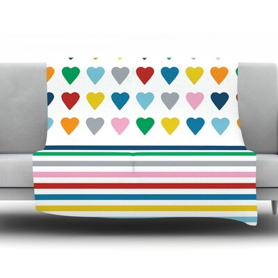 Heart Stripes by Project M Fleece Throw Blanket Color: Multi, Size: 80 H x 60 W x 1 D