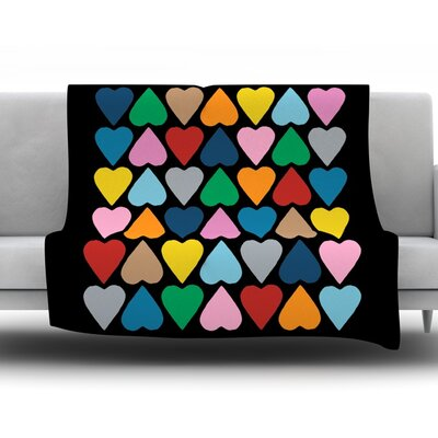 Up and Down Hearts by Project M Fleece Throw Blanket Size: 60 H x 50 W x 1 D
