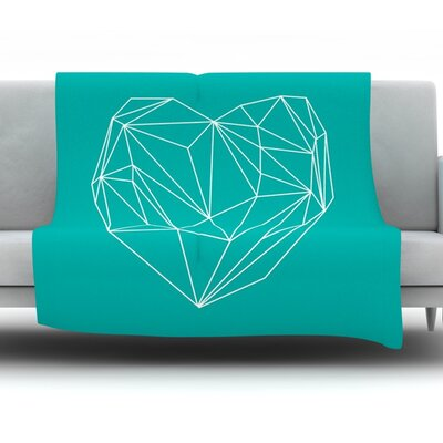 Heart Graphic Turquoise by Mareike Boehmer Fleece Throw Blanket Size: 60 H x 50 W x 1 D