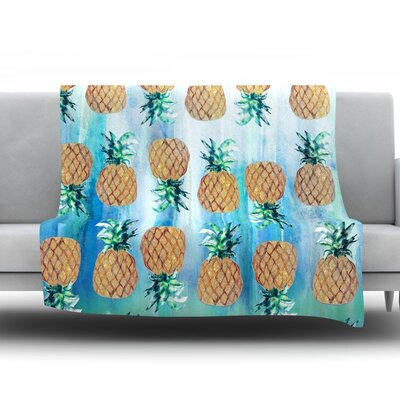 Pineapple Beach by Nikki Strange Fleece Throw Blanket Size: 40'' H x 30'' W x 1